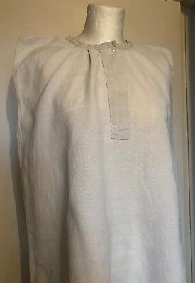 Vintage French Coarse Linen Chore Rustic Nightdress Nightie Handmade Large