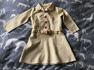 VIntage French Childs Girls Check Winter Dress 1970s Retro