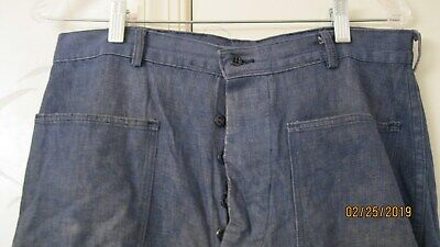 Original WW2 Korea US NAVY BLUE DENIM PANTS DUNGAREE TROUSERS WWII 34 x 31.5""