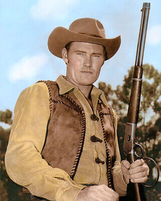 "Chuck Connors 2 The Rifleman 1960 Hollywood Actor 8X10"" Hand Color Tinted Photo"