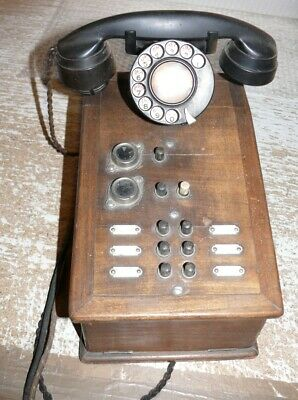 S69  d´Enterprises Electriques Paris Telephone Bakelit / Holz  Frankreich France