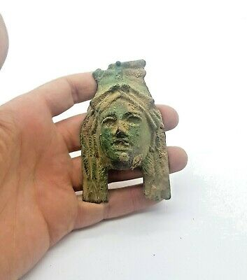 Superb Romano-Celtic Ca.100 Ad Bronze Forest Goddess Applique - Rare