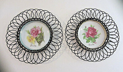 Pair Of Vintage 1950's Wrought Iron Framed Wall Hanging Porcelain Flower Plates