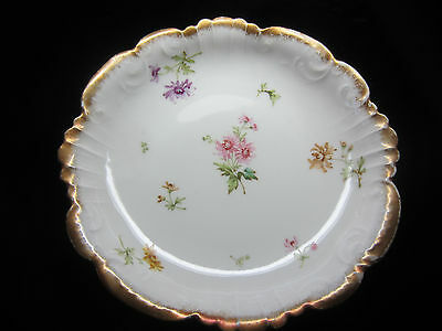 "Antique Vintage Limoges Hand Painted Flowers Signed by PH Leonard  8 1/2""D Bowl"