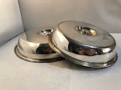 Vintage Good Quality Used Small Flat Silver Plate Food Covers