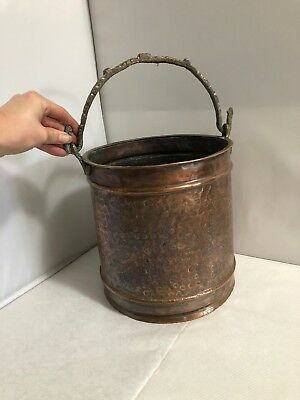 Vintage Old Hand Beaten Copper Round Coal Bucket Fireside Arts & Crafts