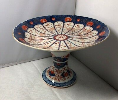 Unusual Antique Japanese Export Imari Footed Dish Tazza Comport Hand Painted