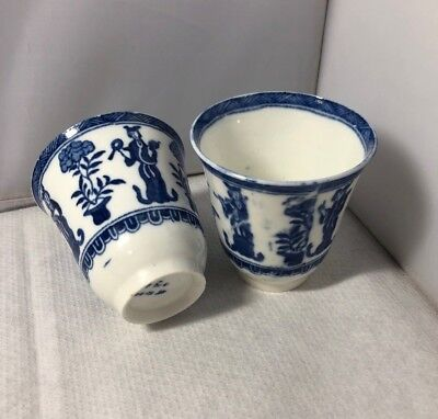 Vintage Antique Pair Of Fine Chinese Tall Blue & White Tea Cups