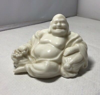 Vintage Small Fine 1920s Chinese Blanc De Chine Pottery Seated Buddha
