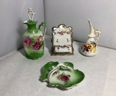 Nice Little Lot of Victorian Pottery Items Pretty Floral Designs Roses