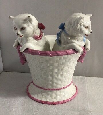 Antique Victorian Large Pair of Cats Kittens in a Basket Rare German Original