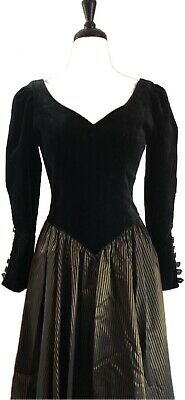 Laura Ashley Vintage Dress Black Velvet Gold Copper Striped Skirt Size 10 Us