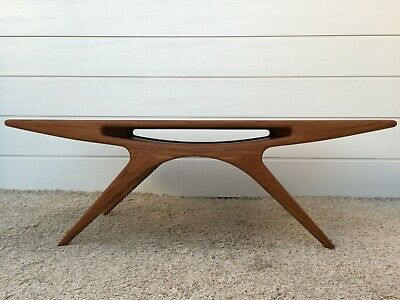 MidCentury CFC SILKEBORG Danish SMILE Teak Coffee Table Signed JOHANNES ANDERSEN