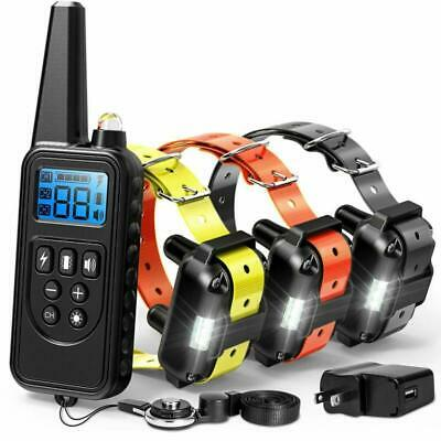F Color Dog Training Collar 2600Ft Shock With Remote Rechargeable Waterproof New