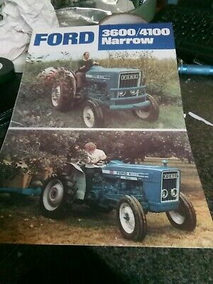 ford tractor  3600 4100  narrow sales brochure 4 pages