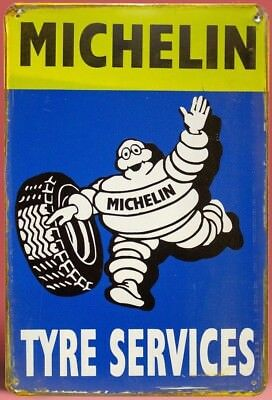 VINTAGE METAL ADVERTISING SIGN  GARAGE WALL PLAQUE *MICHELIN TYRE SERVICES* FAB!