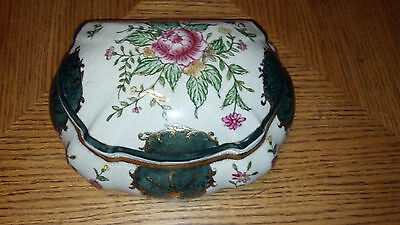 "Antique Hand Painted Porcelain Floral Dresser Vanity / Trinket Box "" VERY OLD """