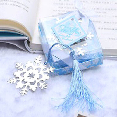 Snowflake Bookmark Metal Silver Page Book Mark Read Frozen Ice Party Boxed Gift