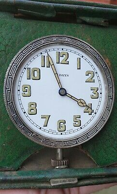 8 DAY VINTAGE TRAVEL CLOCK WITH LEATHER CASE 65mm