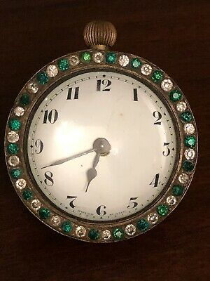 Early 20th C. Paste Diamond Boudoir Timepiece Desk Clock Antique Spring Driven