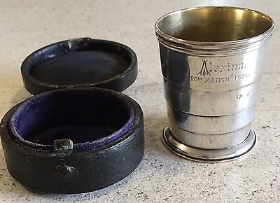 Hallmarked 1874 Collapsible Travelling Cup Jenkinson Silver Leather Case Antique