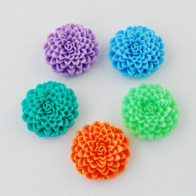 Bulk Flower Flatbacks Assorted Lot Resin Flower Cabochons Dahlia 24mm 50pcs