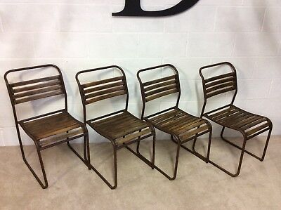 4 Industrial Cafe Bar Dining School Metal / Wood Stacking Chairs Craven Brothers