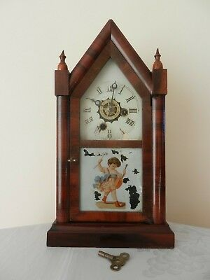 ANTIQUE c1880 GOTHIC STYLE 30 HOUR STEEPLE CLOCK ALARM - E N WELCH - WORKING