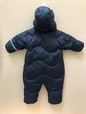 924055642 REI Baby Toddler Puffer Down Snowsuit Bunting Size 3 Months Hooded Navy Blue