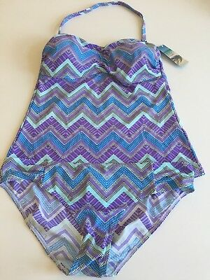 Marks & Spencer's Blue Chevron Mix Bandeau Tankini Top & Hipsters Various Sizes
