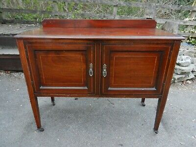 Edwardian Inlaid Mahogany Wash Stand Cupboard - Good Condition