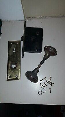Antique Brass Door Knobs, Back Plate & Mortise Lock Architectural Salvage