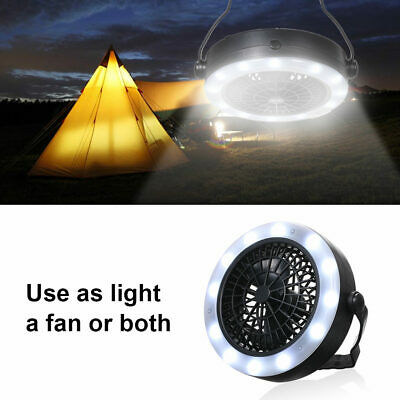 Portable  Battery LED Tent Camping Light Lamp with Ceiling Fan Hand Held Hook
