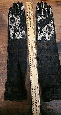 1 PAIR Brand New Long Opera (elbow) Black Lace Gothic Gloves Costume A4-16