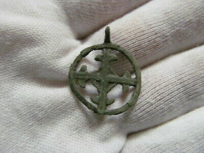 "Ancient bronze pendant ""Cross in circle"" Kievan Rus Vikings 11-13 AD № 534/2."