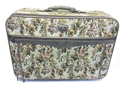 Used Floral Pink Flowers Jordache Suitcase Luggage Traveling Case Leather Wheels