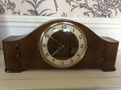 Muller Schlenker Art Deco Walnut Cased Mantel Clock With Emes Bim  Bam Chimes