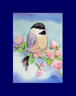 Chickadee in Spring  Bird Wildlife  ACEO ORIGINAL Watercolor Painting
