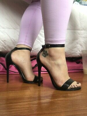 285393656f9 CHARLOTTE RUSSE STRAPPY Sandal Stiletto Heels Black Faux Leather 6 ...