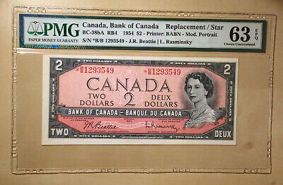 Canada BC-38bA 1954 $2 Beattie Rasminsky PMG 63 EPQ - Replacement / Star