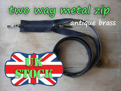 Black Metal Zip Two Way Zip No5 Antique Brass Zipper  65 - 85cm Double Zip
