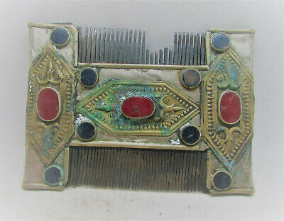 Ancient Byzantine Silver Comb With Gold Gilding And Stones