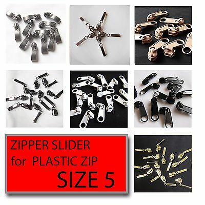 Zip Slider No5 Plastic Spiral Zip Fix Zipper Repair Zip Sliders Slider Pull Zip