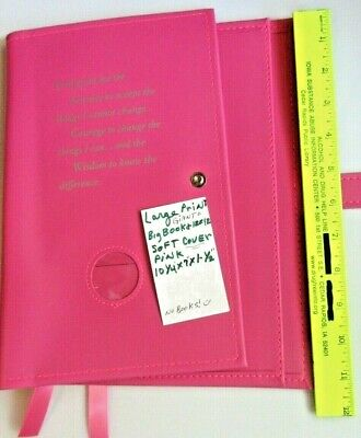 Alcoholics Anonymous AA Big Book 12&12 Deluxe LARGE PRINT Pink COVER Medallion