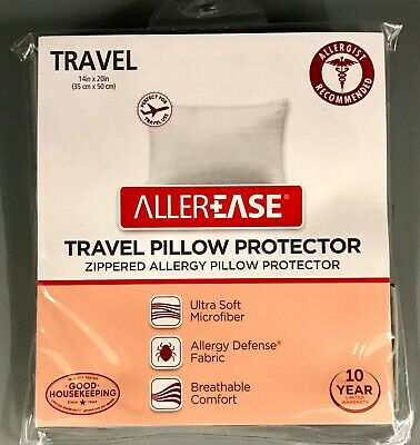 NEW Allerease Zippered Travel Pillow Protector 14 X 20 Gray Black Blue White