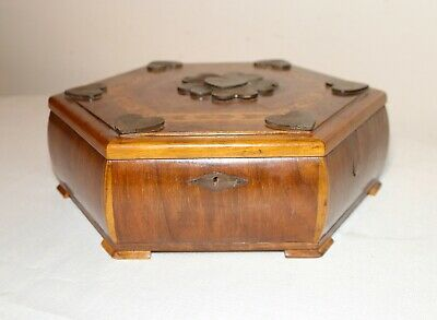 antique handmade inlaid wood marquetry octagonal dresser vanity heart lidded box