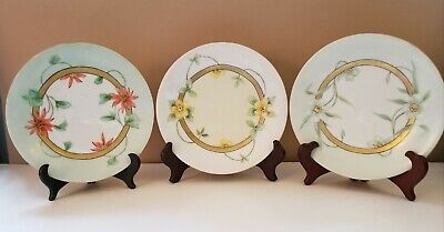 Limoges B & CO Hand painted Cabinet  Plates Floral Design With Gold Trim 3 Lot