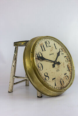 Vintage Industrial Brass Magneta Factory Railway Station Wall Clock Patina