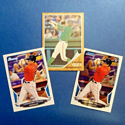 CHRISTIAN YELICH ROOKIE (3) Lot 2011-13 BOWMAN CHROME RC, TOPPS HERITAGE MVP HOT