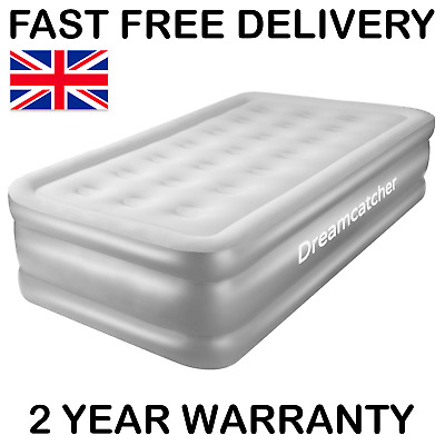 Single Air Bed Blow Up Inflatable Mattress With Built In Electric Pump Raised